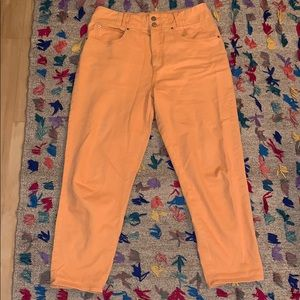 Retro-style Orange Elastic Waist Jeans